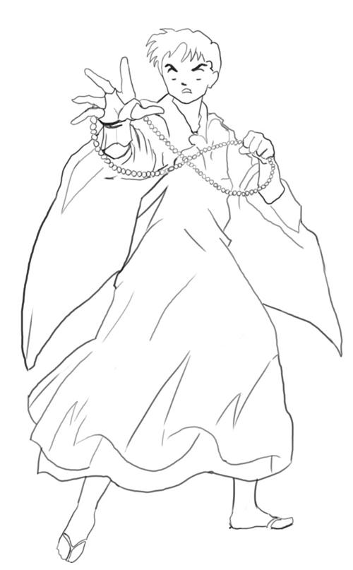 Step 6 : Drawing Miroku from Inuyasha with Manga Anime Lesson