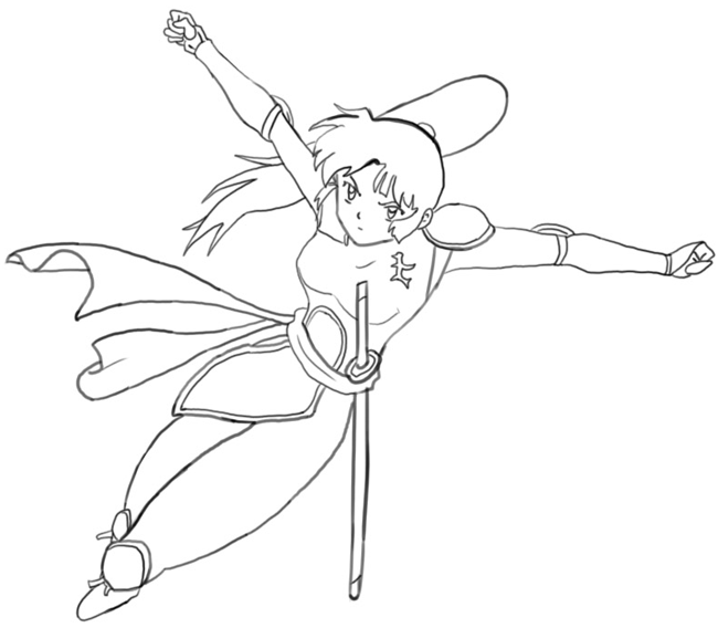 Step 7 : Drawing Sango from Inuyasha with Easy Step by Step Tutorial