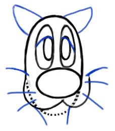 Step 3 : Drawing Sylvester Cat from Looney Tunes Step by Step Drawing Tutorial