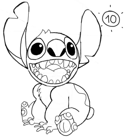 Step 10 : How to Draw Stitch Step by Step Drawing Tutorial