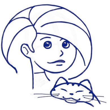 Step 10 : Drawing Cartoon Girls Holding a Kitty Cats Tutorial
