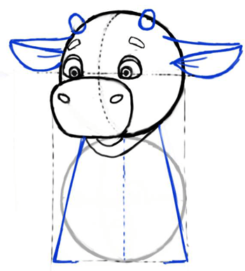 Step 4 : Drawing Cartoon Baby Cows Easy Steps Lesson for Kids