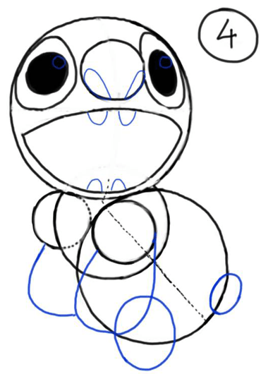 Step 4 : Drawing Stitch from Lilo and Stitch Cartooning Lesson for Kids