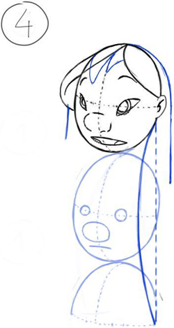 Step 4 : Drawing Lilo Easy Steps Drawing Tutorial for Kids