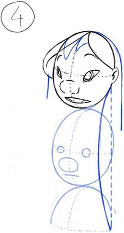 how to draw stitch body step by step