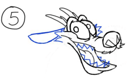 Step 5 : Drawing Mushu from Disneys Mulan Step by Step Tutorial