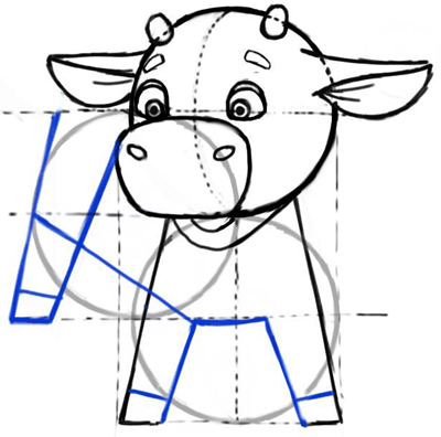 Step 5 : Cartooning or Drawing Cartoon Baby Calf or Calves