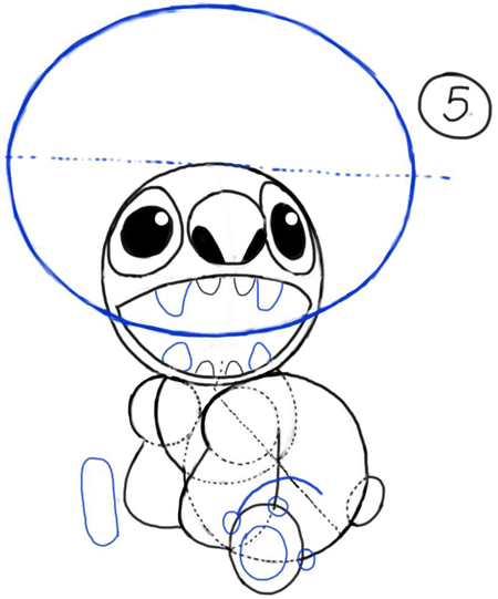 Step 5 : Drawing Stitch from Lilo and Stitch Cartooning Lesson for Kids