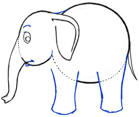Step 5 : Drawing Cartoon Elephants Step by Step Drawing Lesson
