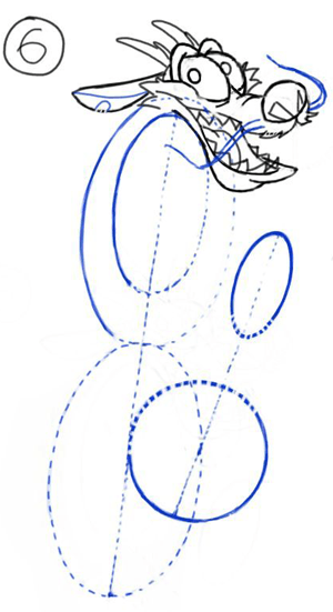 Step 6 : Drawing Mushu from Disneys Mulan Step by Step Tutorial