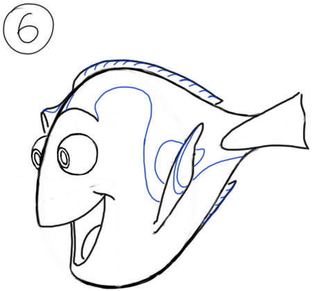 Step 6 Drawing Dory from Nemo Cartooning for Kids