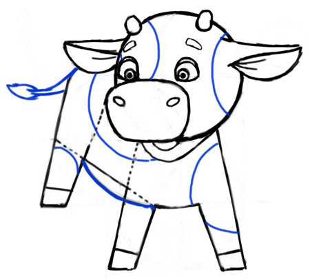 Step 6 : Cartooning or Drawing Cartoon Baby Calf or Calves
