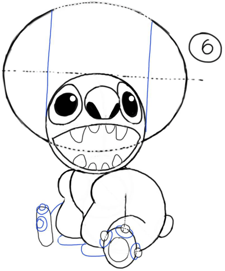 Step 6 : How to Draw Stitch Step by Step Drawing Tutorial