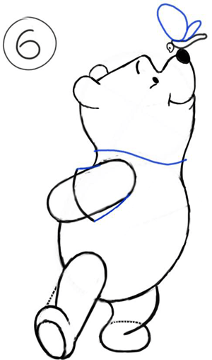 Step 6 : Drawing Winnie the Pooh and Butterfly on His Nose