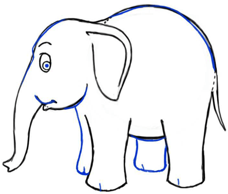 Step 6 drawing cartoon elephants step by step drawing lesson