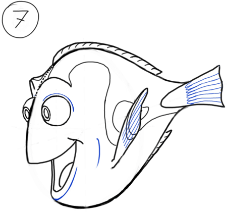 Step 7 Drawing Dory from Nemo Cartooning for Kids