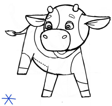 Step 7 : Cartooning or Drawing Cartoon Baby Calf or Calves