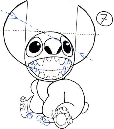Step 7 : How to Draw Stitch Step by Step Drawing Tutorial