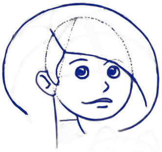 Step 7 : Drawing Cartoon Girls Holding a Kitty Cats Tutorial