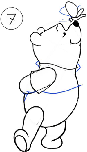 Step 7 : Drawing Winnie the Pooh and Butterfly on His Nose