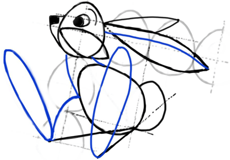 Step 8 : Drawing Cartoon Bunny Rabbit with Easy Steps