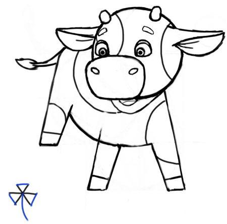 Step 8 : Cartooning or Drawing Cartoon Baby Calf or Calves