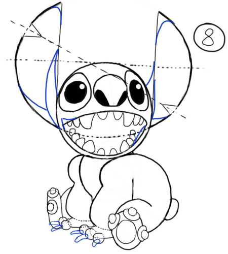 Step 8 : How to Draw Stitch Step by Step Drawing Tutorial
