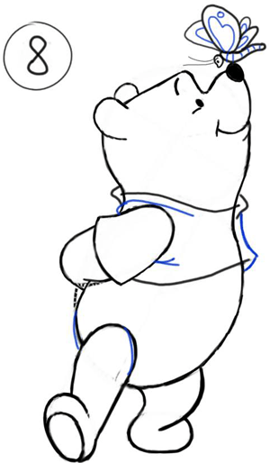 Step 8 : Drawing Winnie the Pooh and Butterfly on His Nose