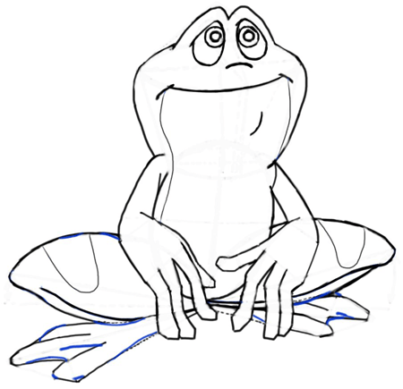 Step 9 : Drawing Cartoon Frogs & Toads in Easy Steps Tutorial