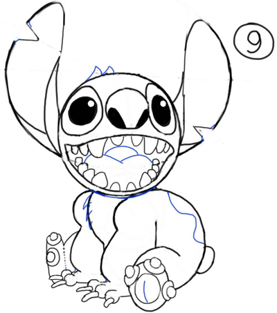 Step 9 : How to Draw Stitch Step by Step Drawing Tutorial