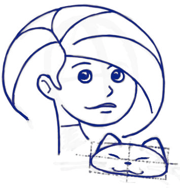Step 9 : Drawing Cartoon Girls Holding a Kitty Cats Tutorial