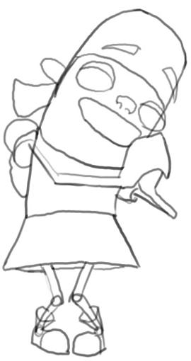 Step 5 : Drawing Yo From Fanboy and Chum Chum Easy Steps Tutorial