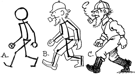 how to draw cartoon people figures moving in different movements and