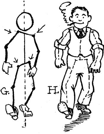 Drawing Cartoon Man Walking forward