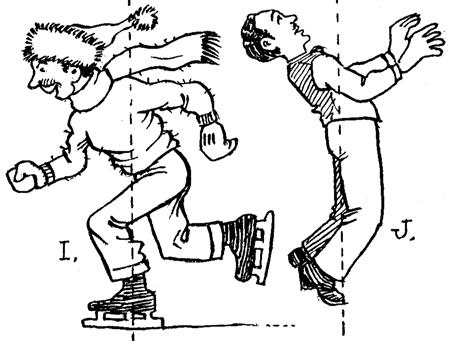 Drawign Cartoon Man Jumping and Skating