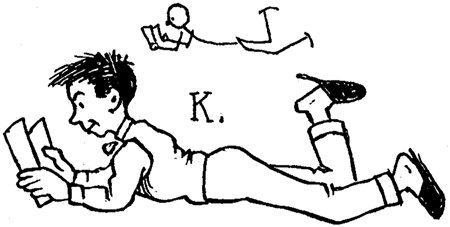 Drawing Cartoon Boy Reading a Book