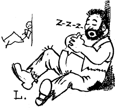 Drawing Cartoon Man Sleeping Under a Tree