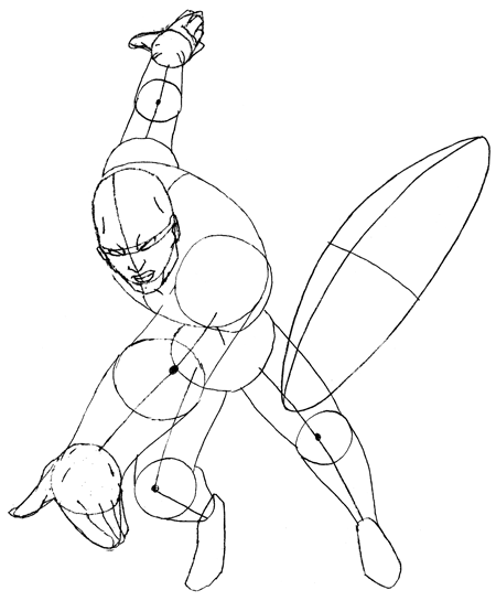 Step 3c : Drawing Marvels Captain America Step by Step Tutorial