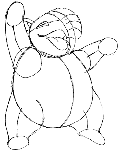 Step 6 : Drawing Drowzee from Pokemon in Easy Steps Tutorial for Kids