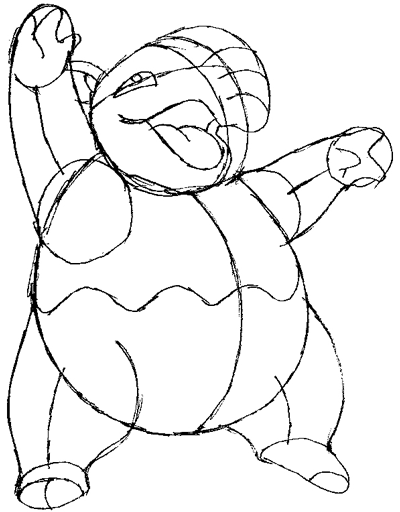 Step 7 : Drawing Drowzee from Pokemon in Easy Steps Tutorial for Kids