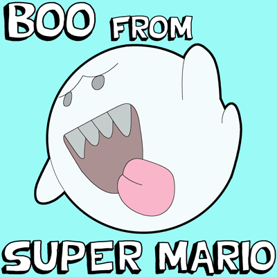 How to Draw Boo from Super Mario Bros Games with Easy Step by Step Drawing Tutorial