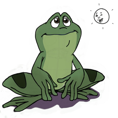 Finished Drawing of Cartoon Frogs & Toads with Easy Steps Tutorial