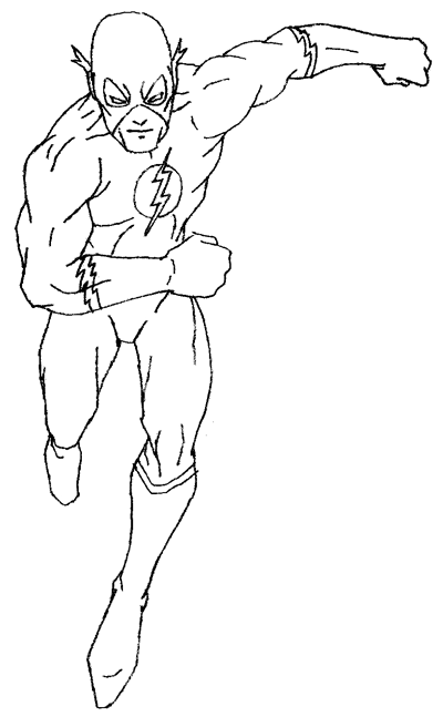 Step 5 : Drawing DC Comcis Flash Super Hero with Tutorial