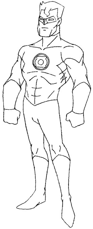 Step 5 : Drawing DC Comics Green Lantern in Easy Steps Lesson