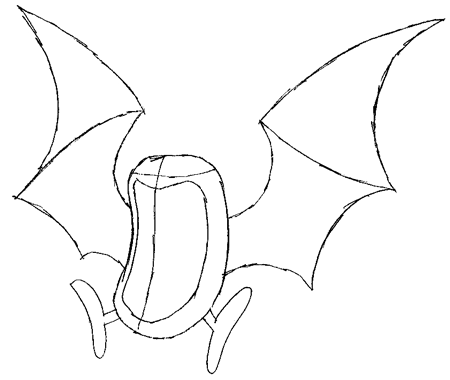 Step 3 : Drawing Golbat from Pokemon Drawing Lesson