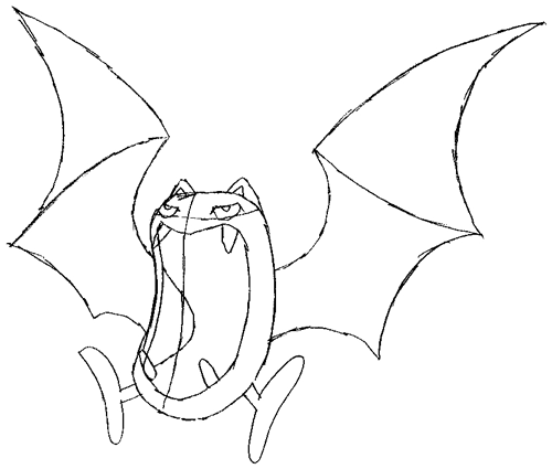 Step 4 : Drawing Golbat from Pokemon Drawing Lesson