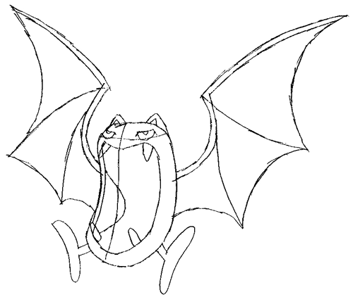 Step 5 : Drawing Golbat from Pokemon Drawing Lesson