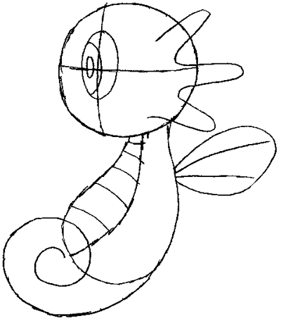 Step 4 : Drawing Horsea from Pokemon in Simple Illustrated Steps