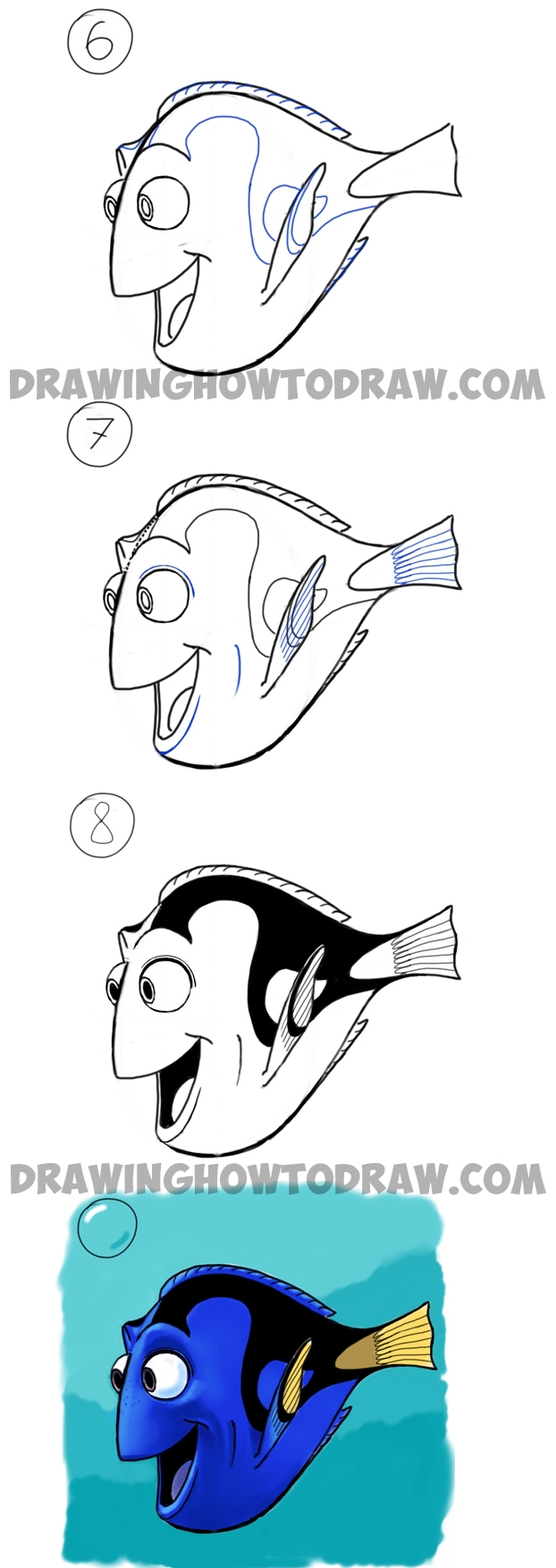 how to draw dory from pixars finding nemo in easy steps drawing