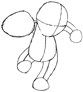 Step 4 : Drawing Machop from Pokemon in Easy Steps Tutorial for Kids